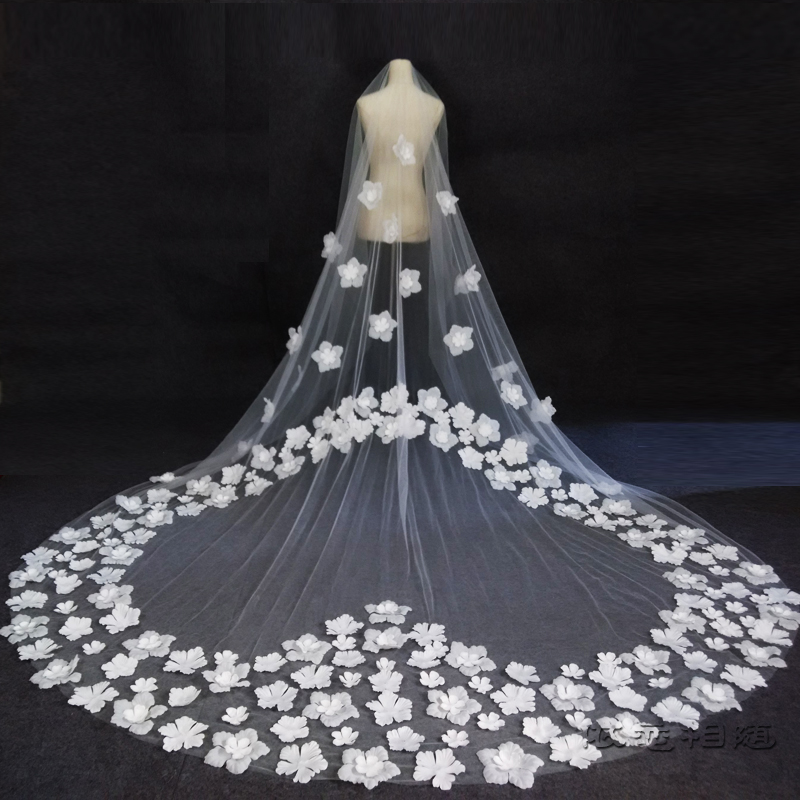 2018 New 3m Wedding Veils Lace Applique White//Ivory Cathedral Bridal Veil Comb