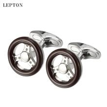 hot deal buy newest car wheel cufflinks for mens shirt cuff cuff links lepton brand high quality brown enamel wheel cufflink relojes gemelos