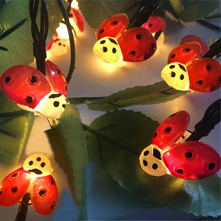 Thrisdar 30LED Beatles Ladybug Shaped Solar LED String Fairy Light Insert Halloween Christmas Light Outdoor Garden Fairy Garland