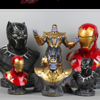 36 cm Thanos Avengers Infinity War Iron Man Fighters Black panther Color resin Statue Handmade Model Endgame