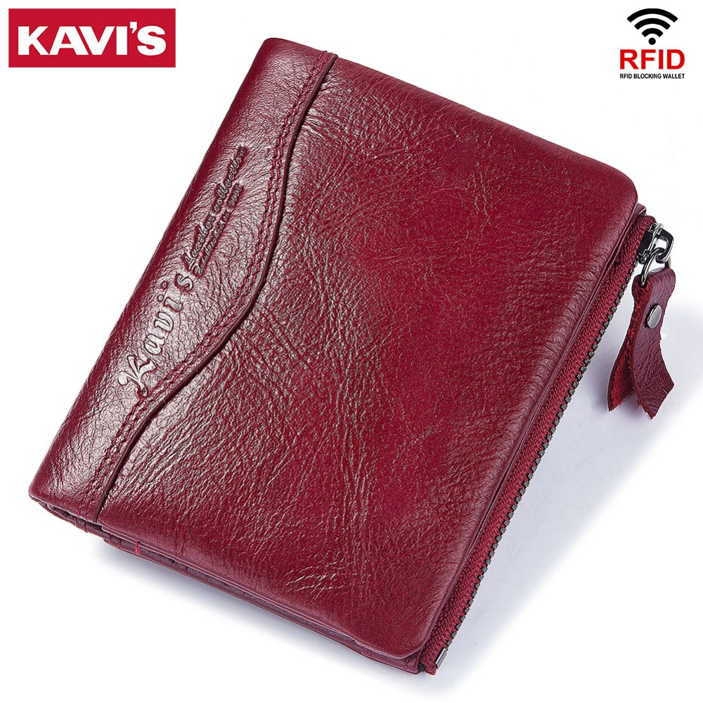 KAVIS 100% Genuine Leather Women Wallet Female And Purses Small Walet Portomonee Money Bag Zipper Card Holder For Girls Lady