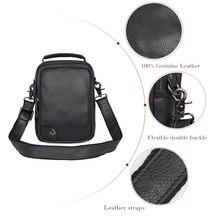 JMD Genuine Tanned Leather Black Sling Bag For Mens Shoulder Bags Messenger 1007A