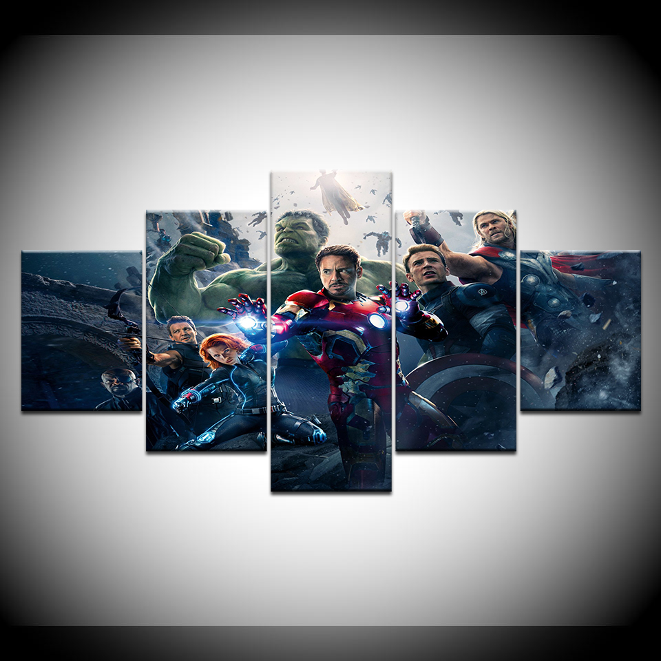 Avengers movie canvas print in 5 pieces Wall Art Painting Modular Wallpapers Poster Print for living room Home Decor in Painting Calligraphy from Home Garden