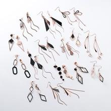 Earrings Ear-Jewelry Pendientes Stainless-Steel Korean Gift Dangle Long Women Geometric