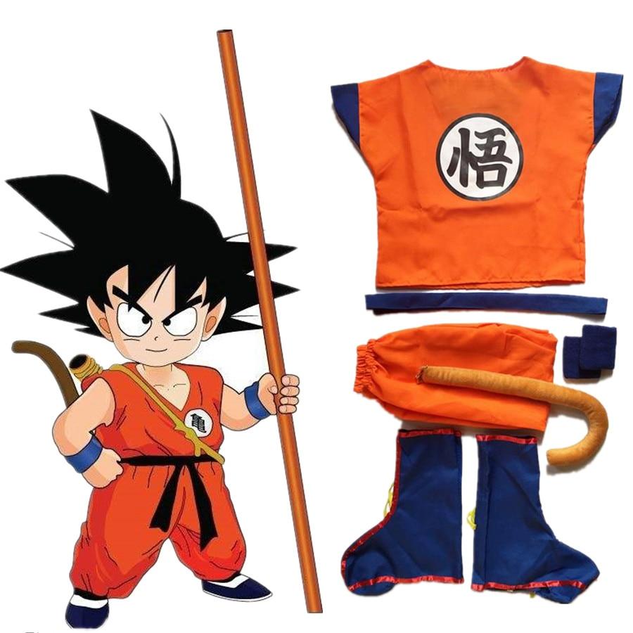 Anime Kids Boys Dragon Ball Z Son Goku Cosplay Costumes Tail Full set