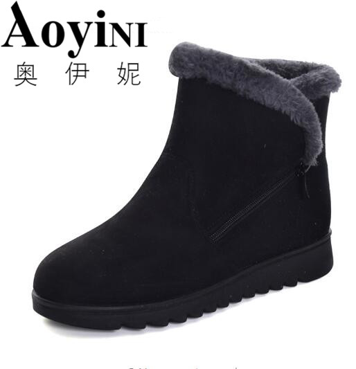 2017 Winter Warm Faux Fur Snow Fashion Solid Ankle Boots Casual Women Mother Flats Shoes Woman Size 36-41