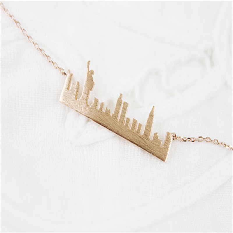Fashion New York Skyline cityscape Pendant choker Necklaces for Women Charm Delicate beautiful Gift jewelry gold/silver plated