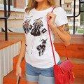 2017 New Fashion Women clothing T shirts O-neck Short Sleeve Women  t-shirt  Comic Character Print With Diamond Sequins 72068