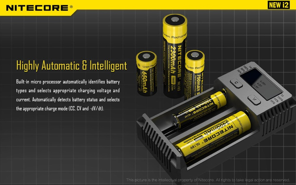 100% Original Nitecore i2 Battery Charger New i2 for 16340 10440 AA AAA 14500 18650 26650 Battery Charger Universal Charger-3