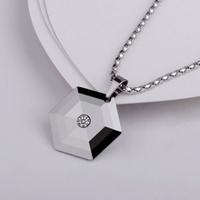 Fashion Pendant With CZ Stone Hexagon Shaped Necklace Silver and Back Color Unisex Necklace Free Shipping and Free Engraving