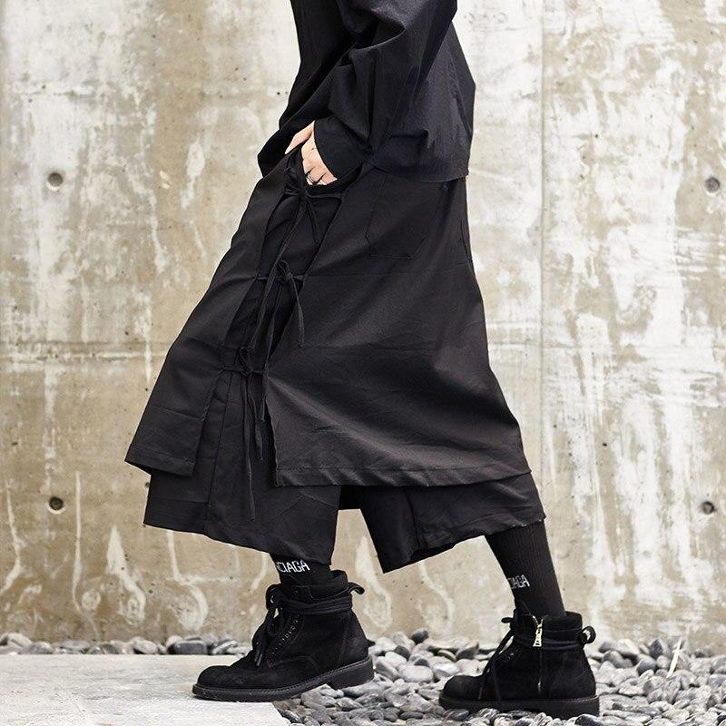 Hommes japon Style Kimono pantalon mâle mode décontracté Harem pantalon scène porter large jambe jupe pantalon Punk Hip Hop vêtements Costumes