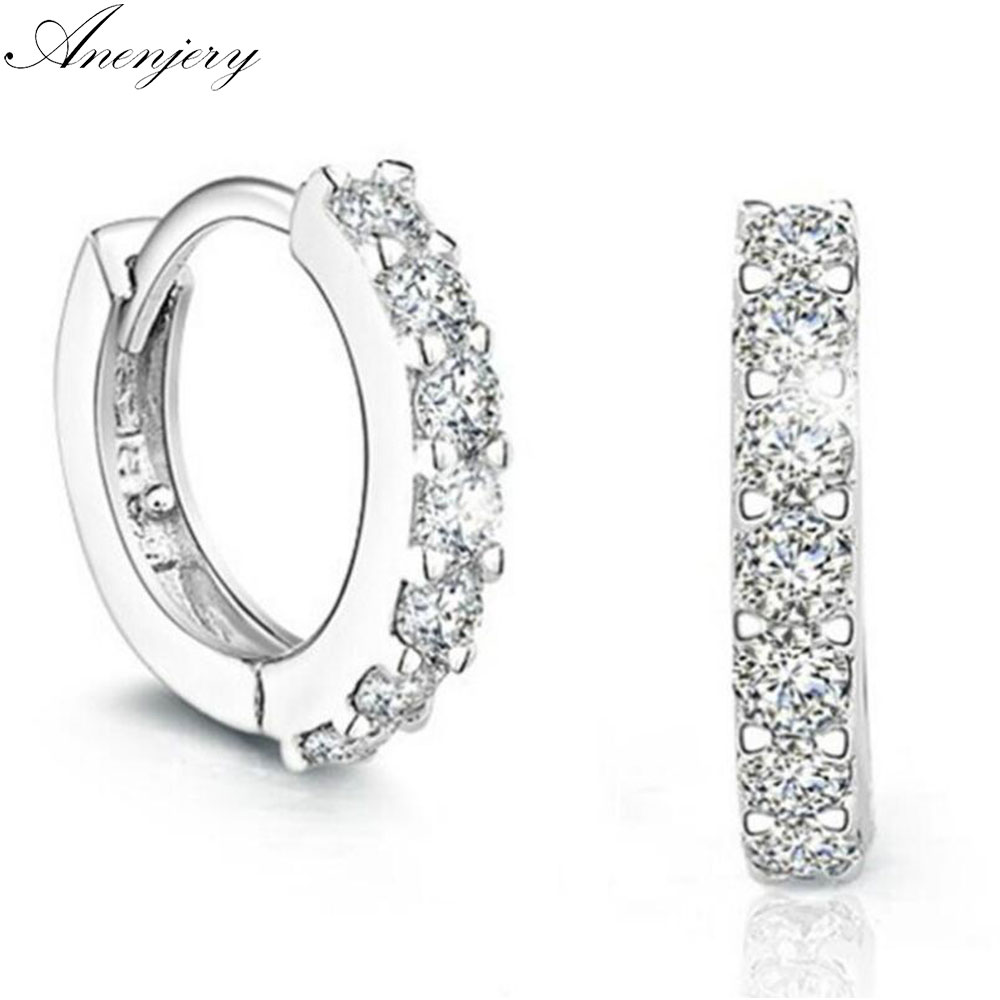 Anenjery Silver Color Earrings Sparkling Single Row Zircon Stud Earrings For Women brincos oorbellen pendientes S-E14(China)
