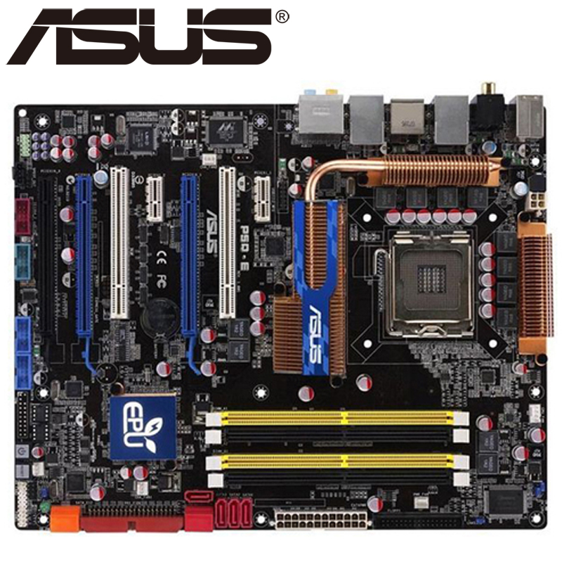 Asus P5Q-E Desktop Motherboard P45 Socket LGA 775 For Core 2 Duo Quad DDR2 16G UEFI ATX BIOS Original Used Mainboard On Sale asus p8z77 m desktop motherboard z77 socket lga 1155 i3 i5 i7 ddr3 32g uatx uefi bios original used mainboard on sale