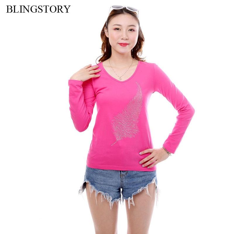 BLINGSTORY Autumn Diamond Beading Long Sleeve Tshirts V neck Big Size Women Oversized T Shirt S 6XL Dropship LP5319002