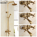 Antique rain shower faucets set with hand shower brass wall mounted shower mixer for bathroom