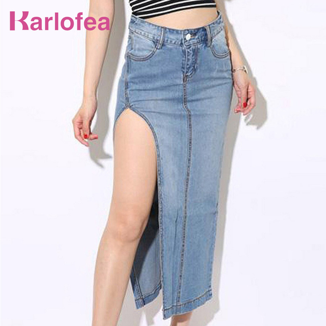 US $25 41 39% OFF|Karlofea New Classical Side High Split Midi Skirt For  Women Going Out Jeans Bottoms Cotton Denim Skirt Long Daily Sexy Skirts-in