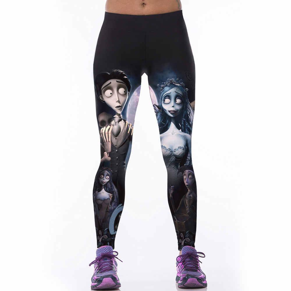 Sexy Gothic legginsy damskie fitness legginsy mujer 3D zwłoki Bride Legging spodnie obcisłe czarne mleko Jeggings trening leginsy