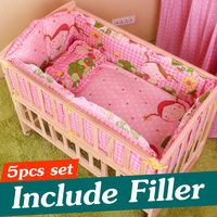 5PCS Newborn Baby Beding Set Baby Crib Bedding Set With Bumper Baby Crib Bumper Baby Cot