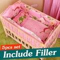 5 PCS Bebê Recém-nascido Conjunto Beding Bebê Berço Cama Conjunto Com Pára Baby Crib Bumper Berço Conjuntos de Cama Dos Miúdos Adesivos 90x50 cm CP01S