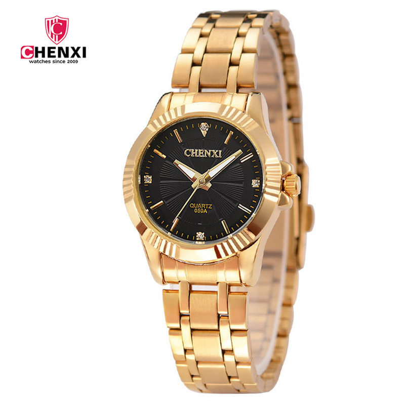 Brand CHENXI Luxury Woman Watch Gull Vanntett Elegant Lady Business Klokker Minimalisme Casual Quartz Kvinne Armbåndsur Golden