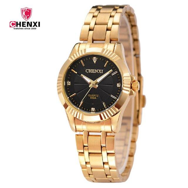 eb7fe1e8f99 CHENXI marca de Luxo Mulher Relógio de Ouro À Prova D  Água Senhora  Elegante Minimalismo