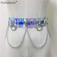 Frauen 2019 Shiny Faux Leder Harness Gürtel Blenden Farbe Holographische Silber Metall Punk Kette für Nachtclub Partei Taille Gürtel