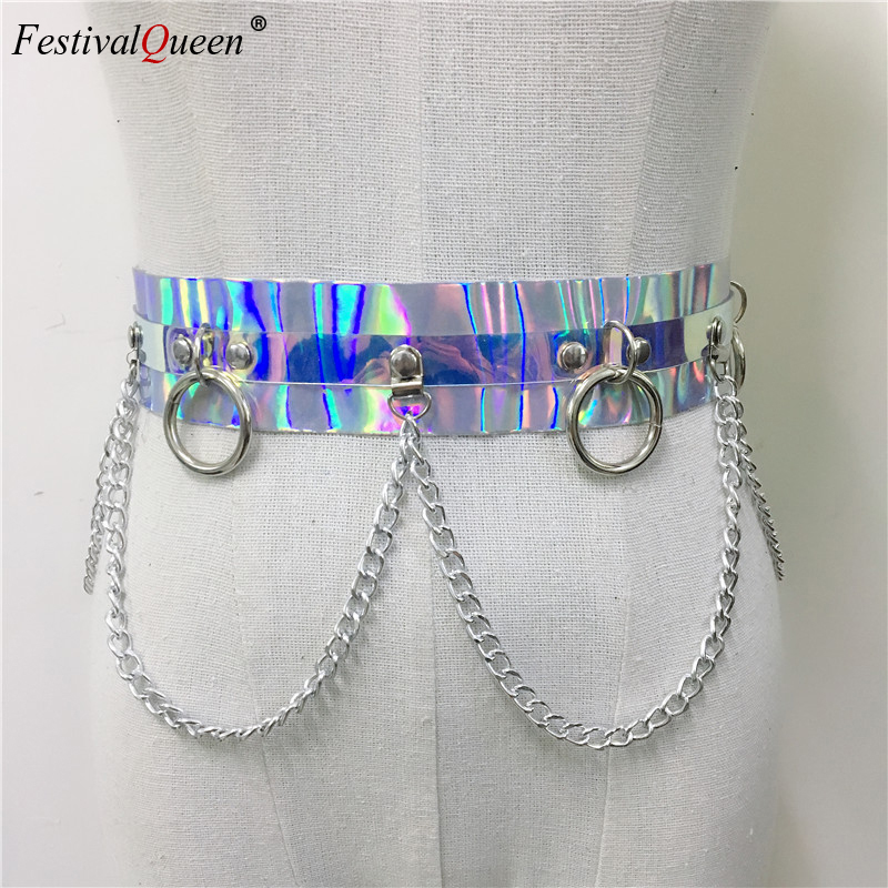 Women's 2019 Shiny Faux Leather Harness Belt Dazzle Color Holographic Silver Metal Punk Chain for Nightclub Party Waist Belts