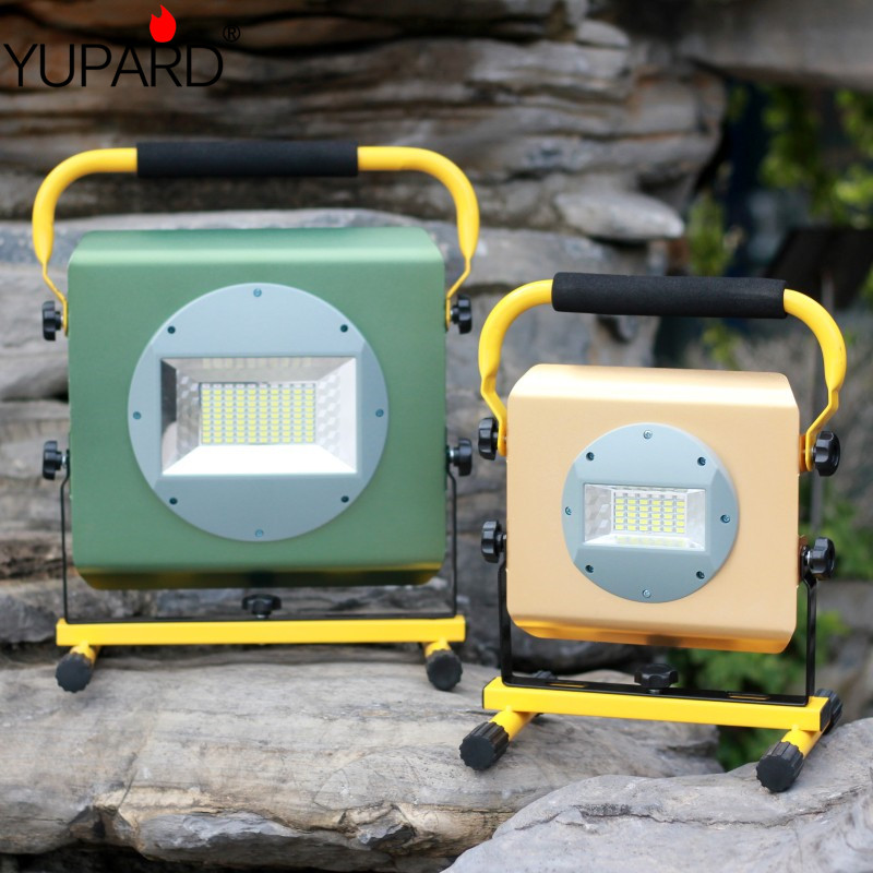YUPARD Searchlight flood light Spotlight Brightness 100W 50W lamp flashlight Outdoor camping rechargeable 18650 battery charger стоимость