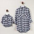 La familia a juego trajes a cuadros camisas Tops Family Clothing madre e hija ropa Mom ropa del bebé ( rojo / blanco + azul marino ) NS03