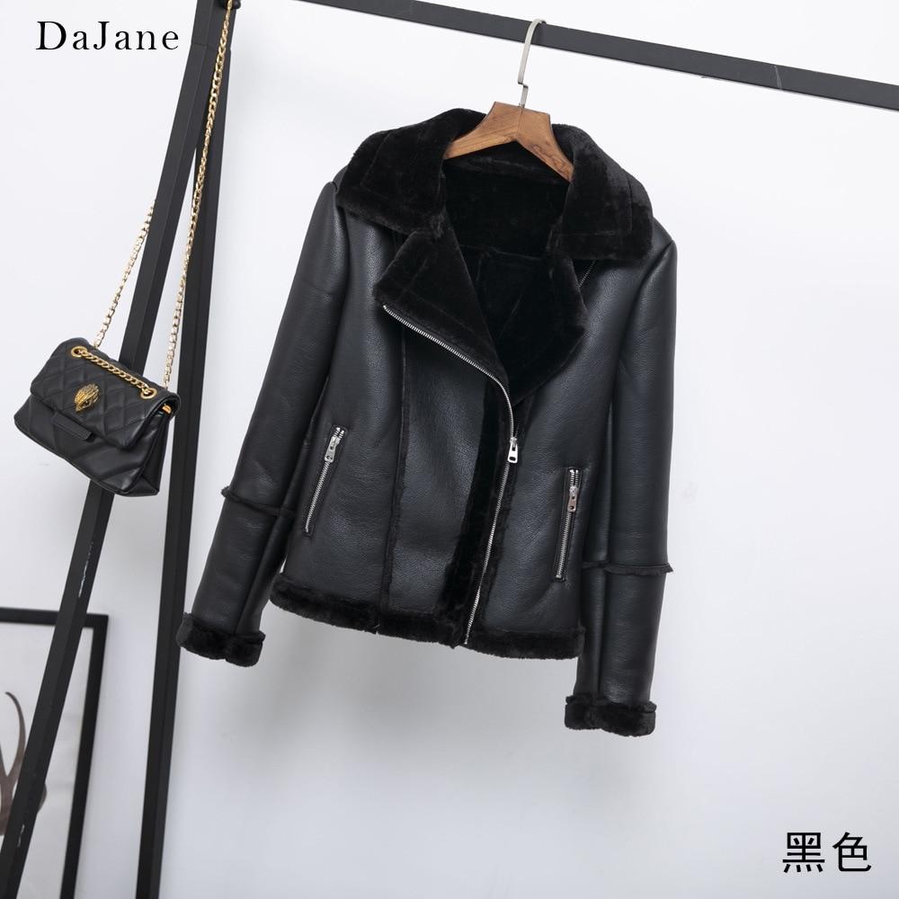 Fur One PU   Leather   Clothing DaJane Winter Europe And America Women Warm   Leather   Jacket Motorcycle Coat women's Clothing