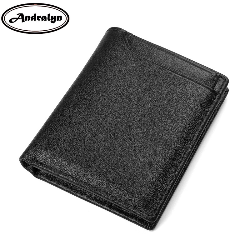 Andralyn Retro Genuine Leather Mens Purse Trifold Short Design Organizer Wallet for Men Male Business Small Black Purse