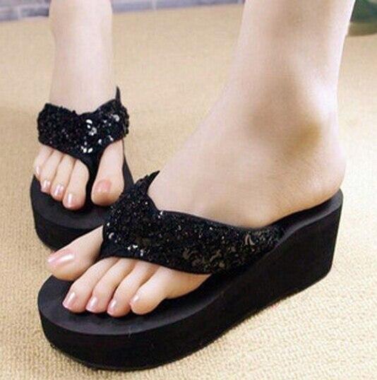 VSEN Wholesale slippers female slippers wedges platform elevator slip-resistant paillette beach flip flops size 6 black
