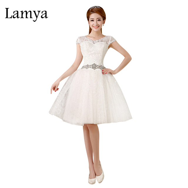 Lamya Günstige Short Vintage Hochzeit Kleid Elegante Kristall Spitze ...