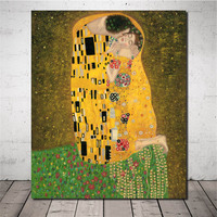 Hand Painted Oil Painting Reproduction Gustav Klimt Famous Paintings The Kiss of Loves Handmade Figure Wall Artwork for Decor