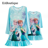 New Casual Style Milk Silk Fabric Cartoon Princess Striped Long Sleeve Nightgown Mother Daughter Dresses Matching