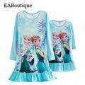 Новый повседневный стиль Молока шелковой ткани мультфильм принцесса полосатый с длинным рукавом ночная рубашка мать дочь платья соответствия Розничная