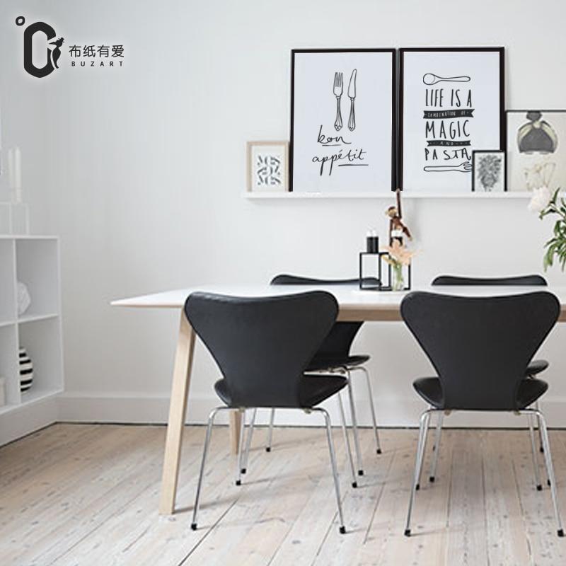 Messer und Gabel Modernes Schwarz-Weiß-Druckplakat Nordische - Wohnkultur - Foto 2