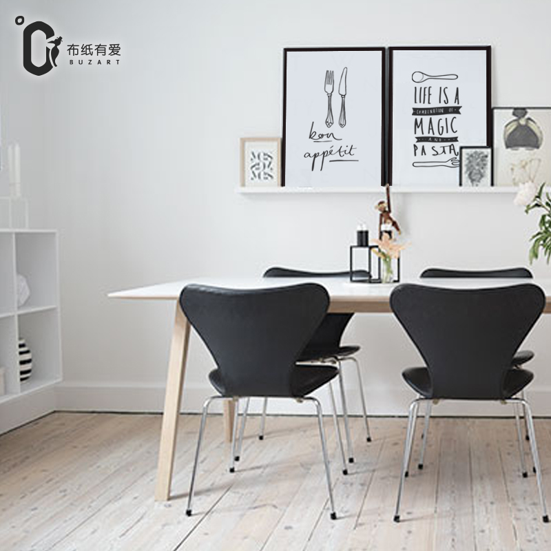 Mes en vork Moderne zwart-wit print poster Nordic interieur Canvas - Huisdecoratie - Foto 2