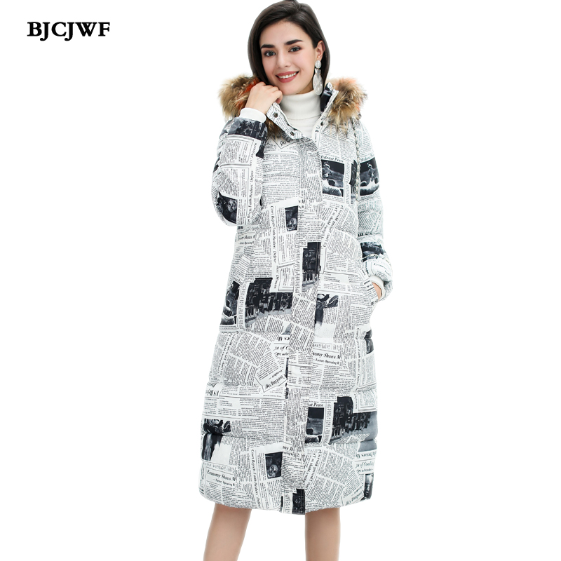 2018 New fashion design newspaper Printing womens long   parka   winter coat Natural fur collar hooded slim warm jacket cotton   Parka