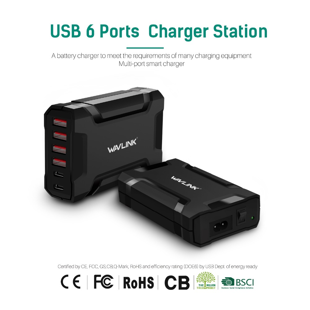 Wavlink 60W/12A 6 Port USB 3.0 fast Charger HUB Station Wall/Desktop/Travel Power Adapter for iPhone Samsung Galaxy Smart Phone samsung original fast power 9v 2a wall travel adaptive fast charger usb quick for samsung galaxy s6 s7 edge note 4 5 eu us plug