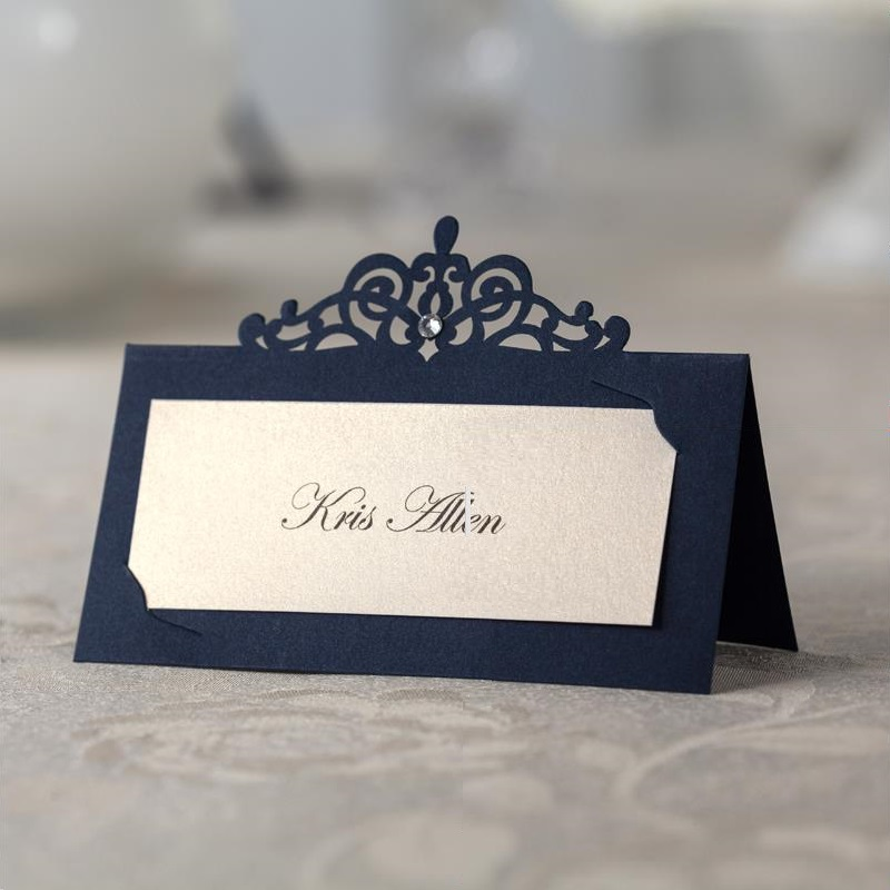 Wedding Table Place Card Ideas: Blue Place Card Table Name Card Number Wedding Place Cards