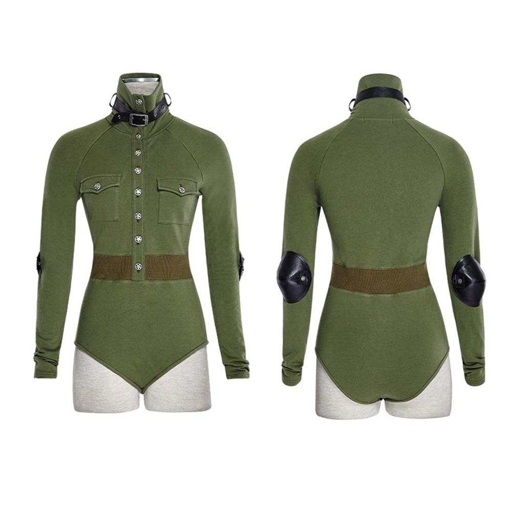 Uniforme Sexy T-Shirt pour femmes militaire Punk gothique style vert Fitness Slim manches longues rétro boutons combinaison cuir Combat