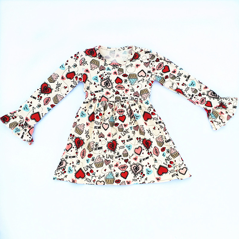 2019 Valentine's Day Baby Girls Dress Kids Clothes Boutique 100% Cotton Red Heart  Ruffle Dress Long Sleeve High Quality 1