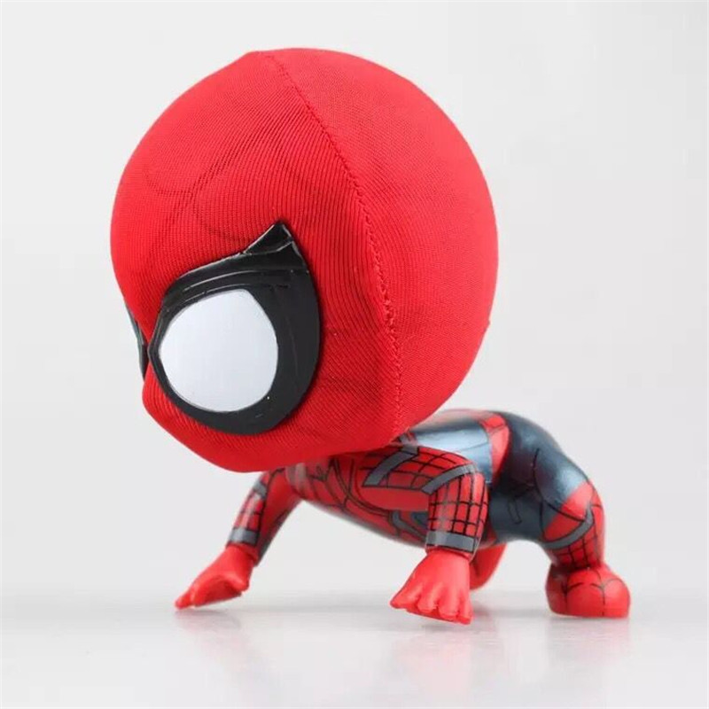 new 10cm spider man Shake your head pvc doll The joints can move edition props decorations Christmas gift Boy toy