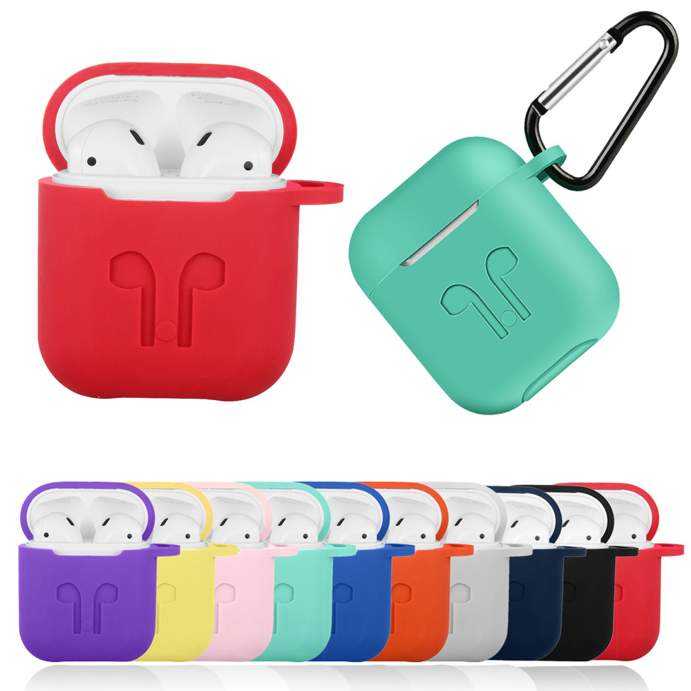 Silicone Case Cover Headphones Pouch Protective Skin Anti-lost Wire Olives Wireless Earphone Case for apple AirPods with Hook