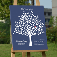 Wedding Guest Book Custom with Red Birds Canvas Fingerprint Tree Guest Book with Name Letters Signature Guestbook Party Decorati
