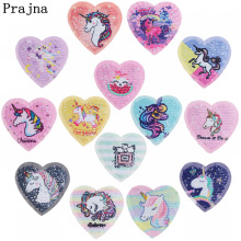 Prajna Heart Unicorn Embroideriy Patch Anime Crown Cat Sew On Patches Reversible Princess Applique For Dress Jacket Ornaments F
