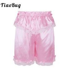 TiaoBug Mens Crossdress Classic Frilly Lace Bowknot Sexy Sissy Shorts Sleep Bottoms Lightweight Loose Lounge Men Short Pants