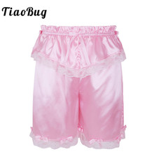 TiaoBug Mens Crossdress Classic Frilly Lace Bowknot Sexy Sissy Shorts S