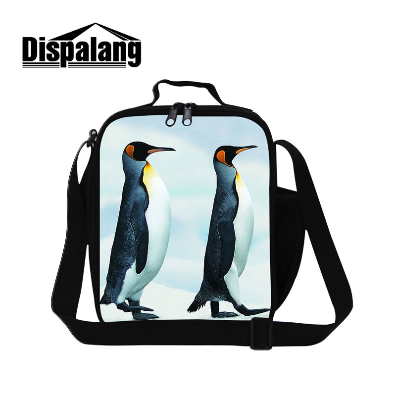 Dispalang Cute Penguin Seals Pattern Take-away Shoulder Bags Ice Pack Cooler Bag Food Container For School Insulated Lunch Bag ...
